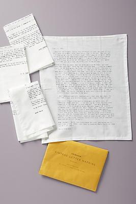 Slide View: 1: Letter Napkins, Set of 4