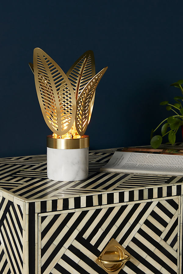 Palm Frond Table Lamp - Gold