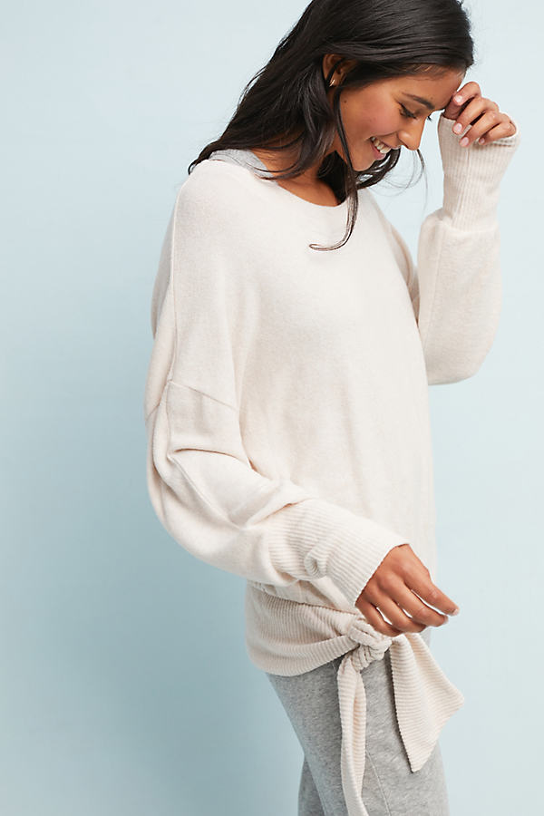 Payton Brushed-Fleece Top - Beige, Size L