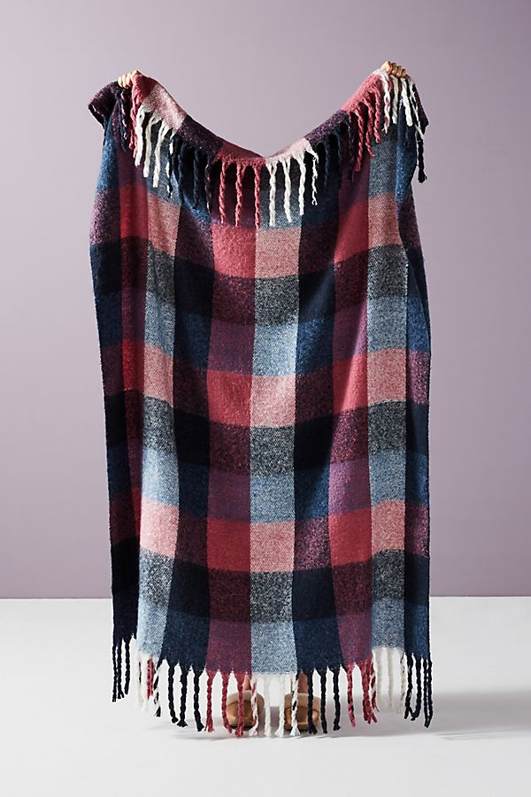 Slide View: 1: Soft Plaid Throw Blanket