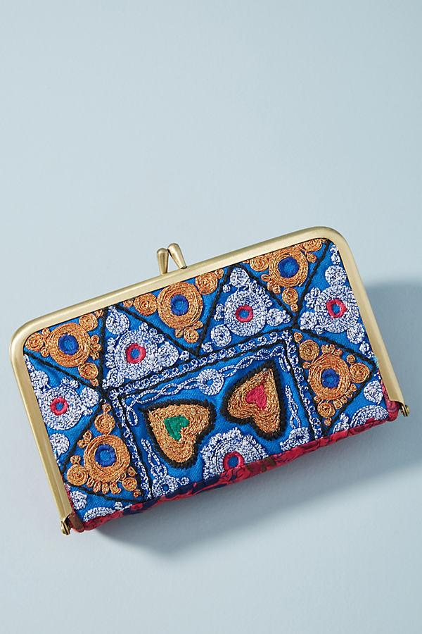 Moroccan Tile Print Clutch - Blue