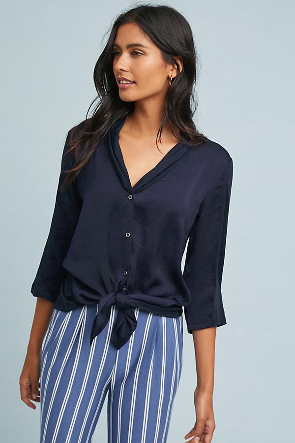 Olivia Front-Tie Top - Blue, Size L