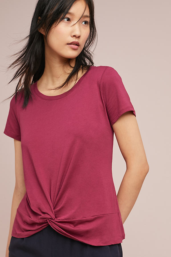 Lucielle Knotted Tee - Purple, Size Xs