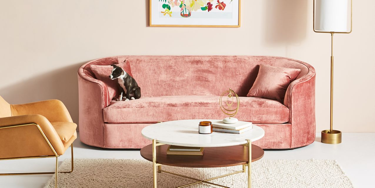 Love this pink sofa | Anthropologie