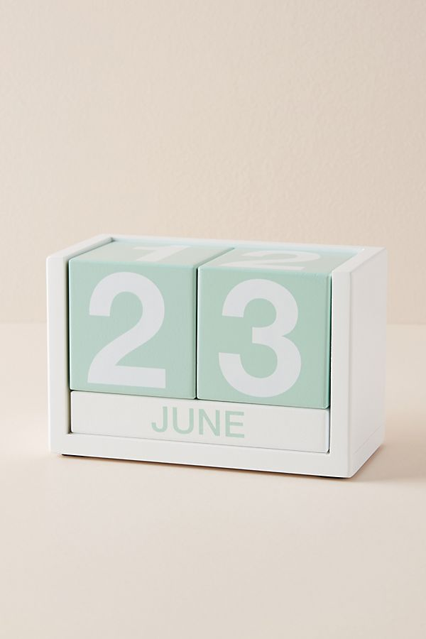 Slide View 1 Wooden Desk Calendar
