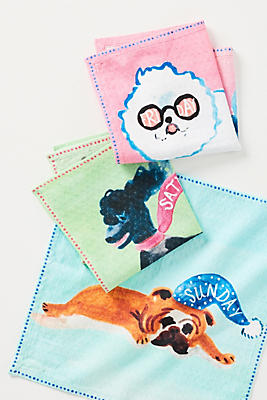 Slide View: 1: Dogs of the Week Dishcloths, Set of 7