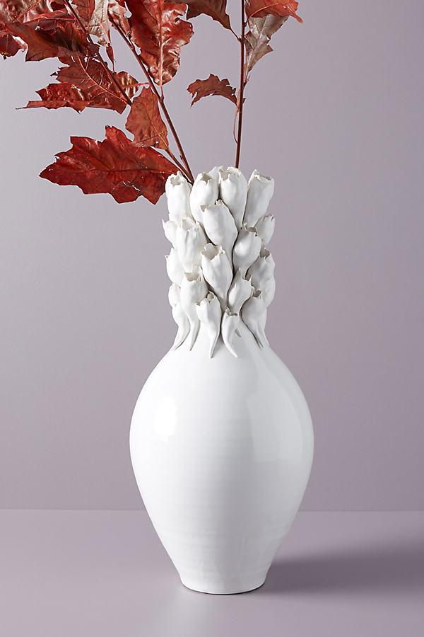 Budding Blooms Vase - White
