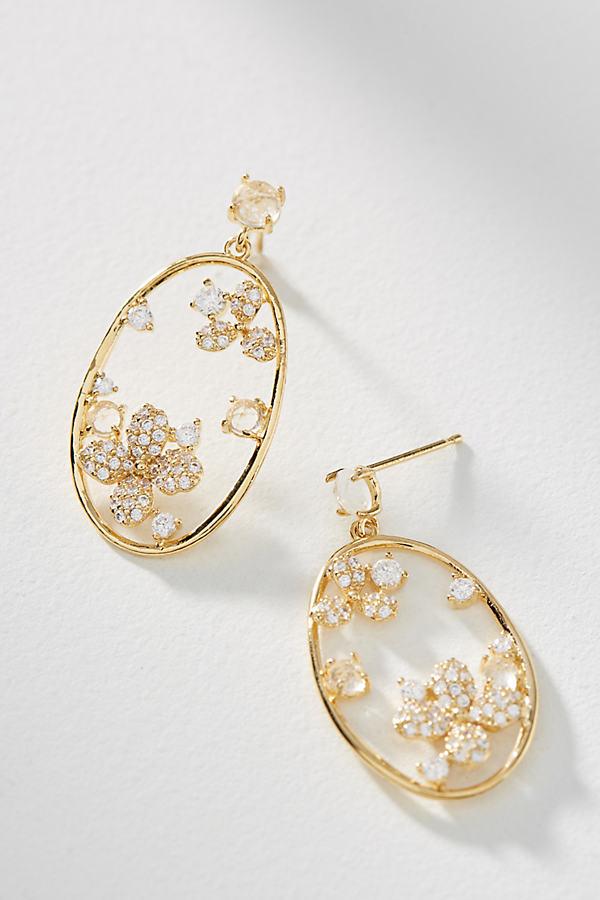 Blooming Hoop Drop Earrings - Gold