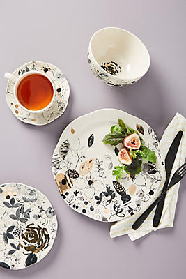 Slide View: 4: Floral Vine Dinner Plates, Set of 4