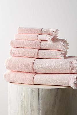 Slide View: 1: Blocked Border Bathroom Towels, Set of 6