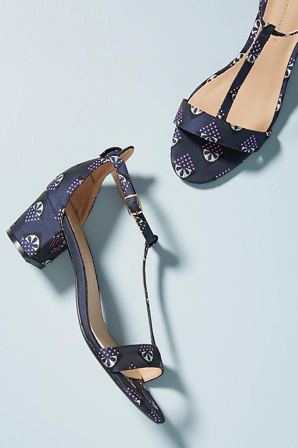 Anthropologie Floral T-Strap Heels - Blue, Size Eu 39
