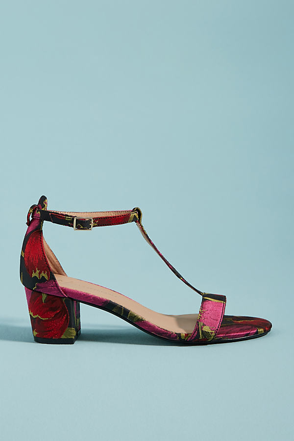Anthropologie Brocade T-Strap Heeled Sandals - Assorted, Size Eu 39