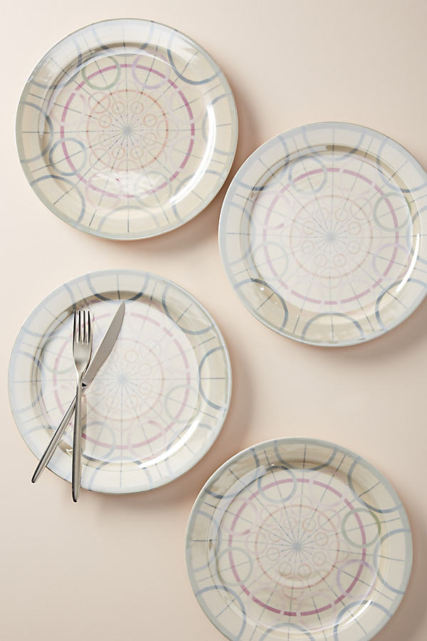 Set of 4 Mika Dinner Plates - Blue, Size S/4 Dinner