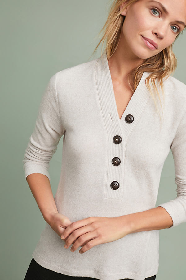 Buttoned Brushed-Fleece Top - Beige, Size M