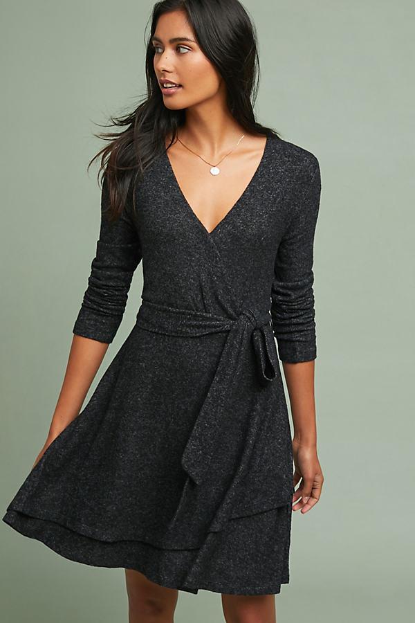 CloudFleece Wrap Dress - Grey, Size S