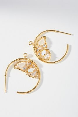 Butterfly Hoop Earrings by Anthropologie