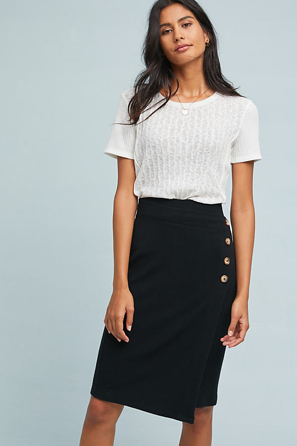 Buttoned CloudFleece Skirt - Black, Size S