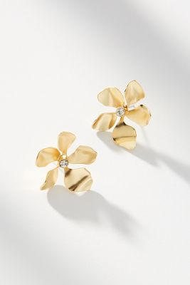 Metallic Flower Post Earrings by Anthropologie