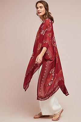 Slide View: 1: Sabrina Fringed Kimono
