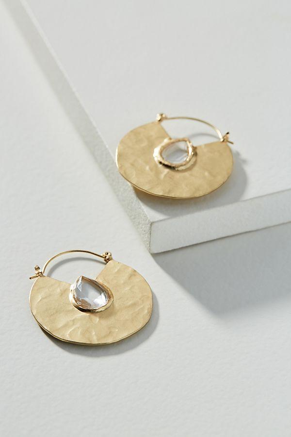 Slide View 1 Rania Hammered Hoop Earrings