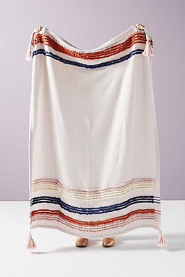 Slide View: 1: Woven Stripe Throw Blanket