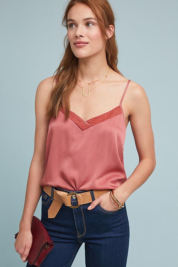 Velvet-Trimmed Cami - Pink, Size Xl