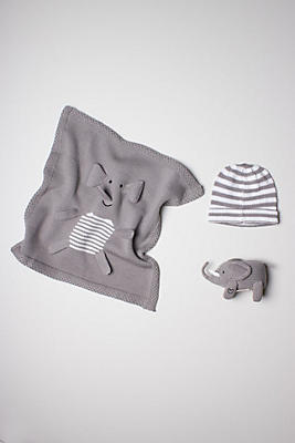 Slide View: 1: Estella Organic Elephant Blanket Baby Gift Set