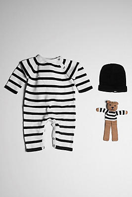 Slide View: 1: Estella Organic Stripe Baby Romper With Bear & Hat