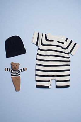 Slide View: 1: Estella Organic Baby Gift Set With Short Sleeve Stripe Romper, Bonnet Hat & Bear