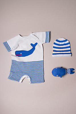 Slide View: 1: Estella Organic Whale Baby Short-Sleeved Romper Gift Set
