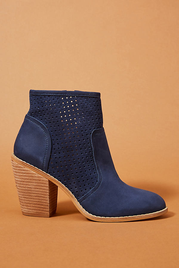 Anthropologie Perforated Heeled Booties - Blue, Size Eu 38