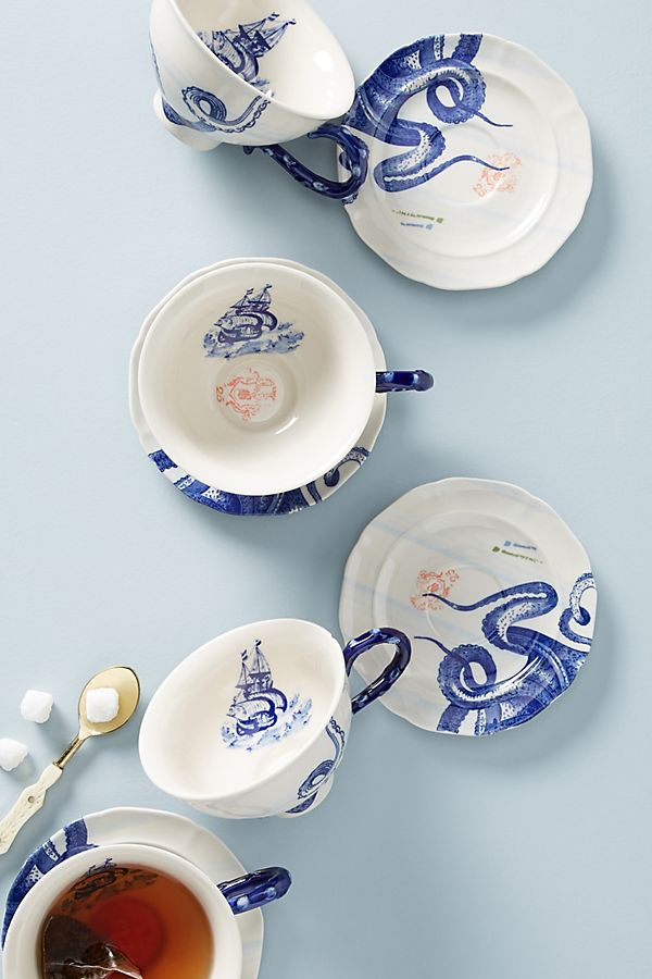 Slide View: 1: From The Deep Cups & Saucers, Set of 4