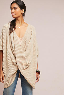 Slide View: 1: Twisted Ribbed Poncho