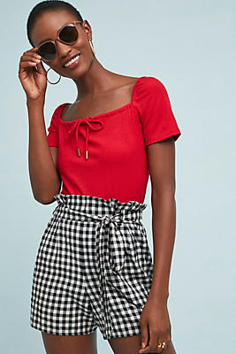 Slide View: 1: Paperbag-Waisted Gingham Shorts