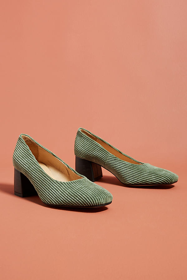 Anthropologie Corduroy Block Heels - Green, Size Eu 39