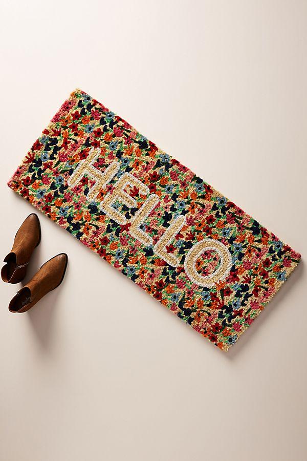 Slide View: 1: Floral Greeting Estate-Sized Doormat