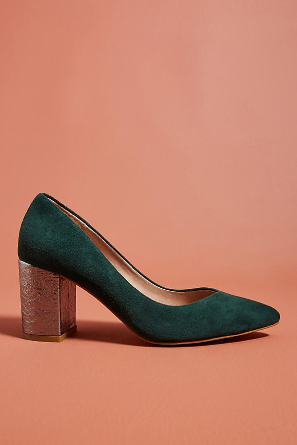 Anthropologie Metallic Block Heels - Green, Size Eu 39
