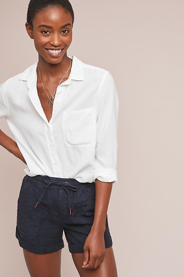 Overdyed Striped-Linen Shorts - Blue, Size Xl