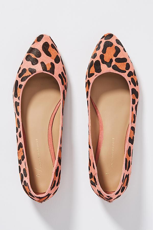 Leopard-Print Calf-Hair Flats - Pink, Size Eu 39
