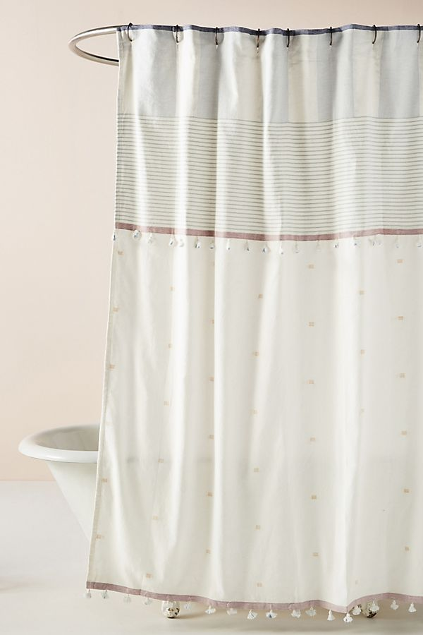 Slide View: 1: Tasseled Rayas Shower Curtain