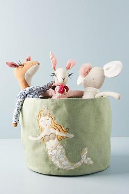 Slide View: 1: Embroidered Mermaid Mini Toy Bin