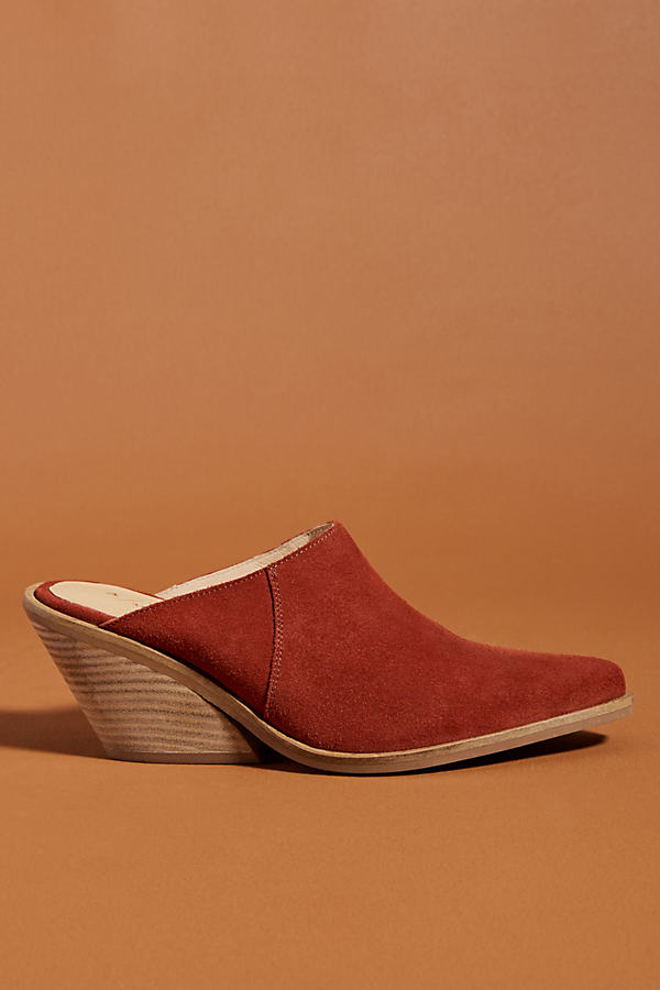 Anthropologie Suede Mules - Orange, Size Eu 37