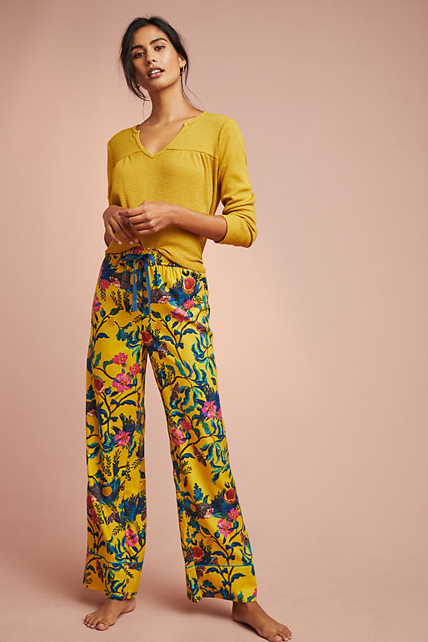 Daina Printed-Flannel Sleep Trousers - Assorted, Size L