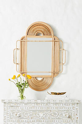 Slide View: 1: Sculpted Rattan Mirror