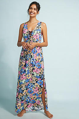 Slide View: 1: Allihop Lace-Up Maxi Dress