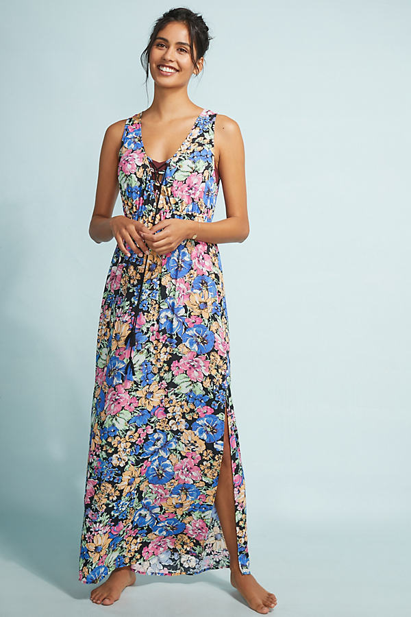 Allihop Lace-Trimmed Floral Maxi Kaftan - Assorted, Size Xs