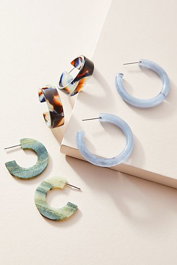 Cindy Resin Hoop Earring Set