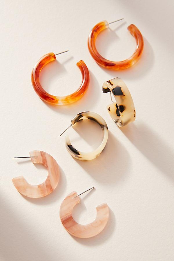 Cindy Resin Hugger Hoop Earring Set - Pink