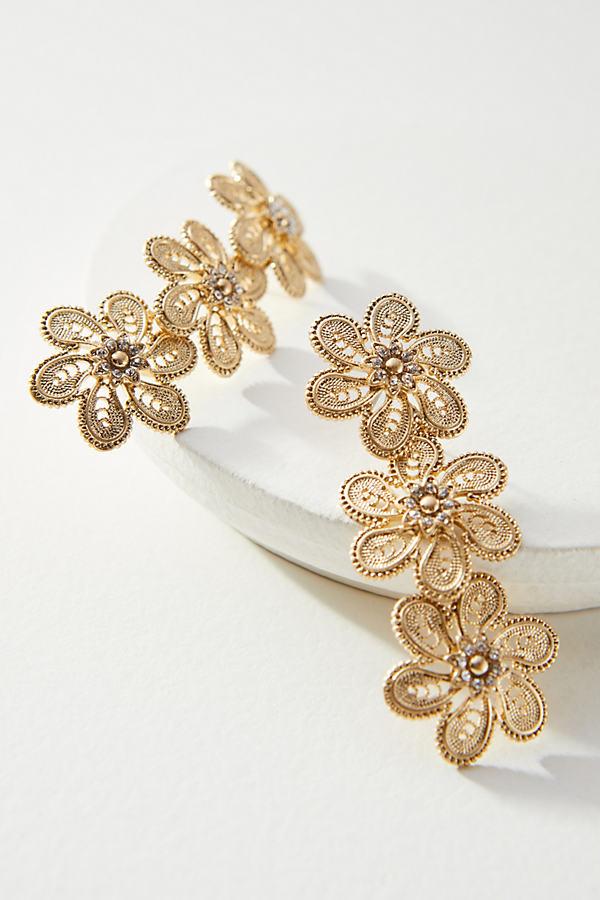 Fall Filigree Double Drop Earrings - Gold