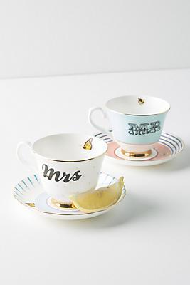 Slide View: 1: Yvonne Ellen Mr. and Mrs. Teacup Set